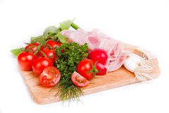 Food on wooden board Royalty Free Stock Photo
