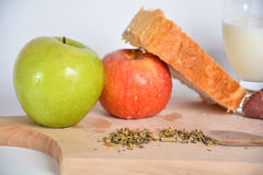 Food on a wooden board. stock photo
