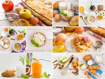 Food on a wooden table Royalty Free Stock Images