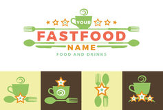 Food word sign logo icon design template elements with spoon and fork. For fast food restaurants, cafes, canteens. Production of leaflets, banners, invitations Stock Photo
