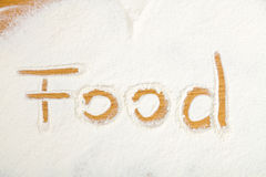 Food written in flour Royalty Free Stock Photos