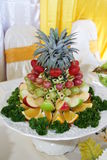 Food01. Decoration of fruits as one of the dishes for wedding party Stock Photos