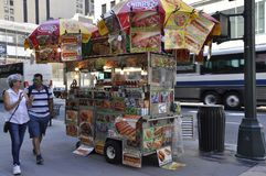 New York City, 2nd July: Foodcart on fifth avenue in Manhattan from New York City in United States royalty free stock photos