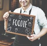 Foodie äter gourmet- kokkonst målbegrepp royaltyfria bilder