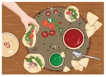 Foodie, foodporn instagram bloger, taco, nacho party. Guacamole and tomato sauce, nacho and taco, hand holding, spoon and pepper and plate- dinner or lunch stock illustration