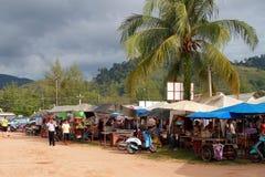 Foodmarket i Khao Lak, Thailand Arkivbild