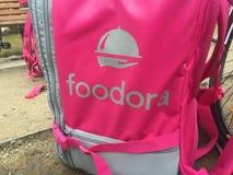 Foodora-Rosa-Lieferungsrucksack Lizenzfreies Stockbild