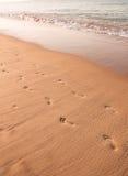 Foodprints en la arena, Portugal Imagen de archivo libre de regalías