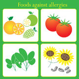 Foods against allergies Royalty Free Stock Image