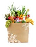 Foods in bag with snowflakes Royalty Free Stock Photos