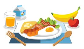 Breakfast is the first meal of a day for life. Foods with benefits. Eating breakfast in the morning. Breakfast is the first meal of a day for life Stock Photography