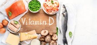Foods bogaci w naturalnym witamina d Panorama, sztandar obraz stock