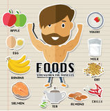 Foods for build muscles. Eps 10 format Royalty Free Stock Photo