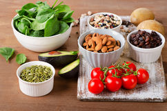 Foods containing potassium on wooden table.  stock images