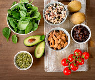 Foods containing potassium on a wooden table. Royalty Free Stock Photography