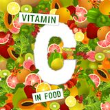 Vitamin C Background. Foods containing vitamin C colorful background. Source of ascorbic acid - vegetables, fruits, berries. Medical, healthcare, gastronomy and Stock Photo