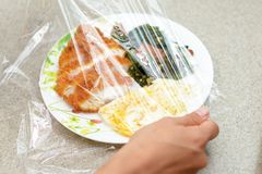 Foods covered with cling film. Delicious foods covered with cling film Royalty Free Stock Image