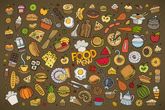 Foods doodles hand drawn sketchy vector symbols Royalty Free Stock Photography