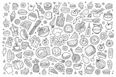 Foods doodles hand drawn sketchy vector symbols Royalty Free Stock Images