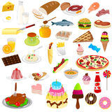 Foods and drinks. Illustration of foods and drinks with white background Stock Image