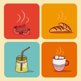 Foods and drinks. Vector illustration graphic design Stock Images