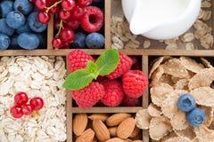 Foods för frukosten - havremjölet, granola, muttrar, bär och mjölkar Royaltyfri Foto