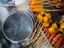 Foods för mellanmål för `-Lok Lok ` i Penang, Malaysia arkivfoton