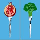 Foods för sund hjärna stock illustrationer