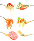 Foods on a fork. Royalty Free Stock Images