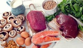 Foods högt i det naturliga vitaminet B2 arkivbild