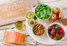 Foods for healthy Heart. Balanced diet. Top view royalty free stock photo