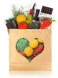 Foods for healthy heart. The best foods for healthy heart in a paper bag stock image