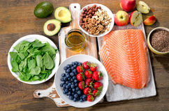 Foods for healthy Heart. Top view royalty free stock photography