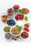 Foods for healthy nutrition and breakfast on white background. Top view, horizontal Royalty Free Stock Photo