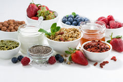 Foods for healthy nutrition and fresh berries Royalty Free Stock Photo