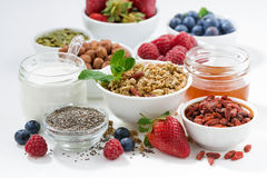Foods for healthy nutrition and fresh berries, closeup Stock Images