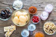 Foods with hidden sugar Stock Photography