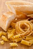 Carbohydrate with food. Foods high in carbohydrate with bread and pasta stock photo