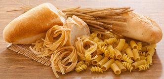 Carbohydrate. Foods high in carbohydrate pasta and bread stock images