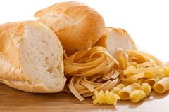 Carbohydrate. Foods high in carbohydrate on wood royalty free stock photos