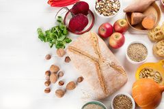 Foods high in carbohydrates. Healthy food. Top view royalty free stock photos