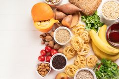 Foods high in carbohydrates. Healthy food. Top view royalty free stock photography