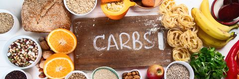 Foods high in carbohydrates. Healthy food. Top view stock photo