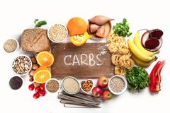 Foods high in carbohydrates. Healthy food. Top view stock photos