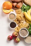 Foods high in carbohydrates. Healthy food. Top view stock images