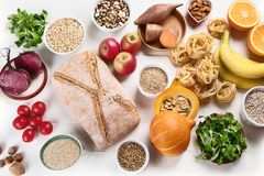 Foods high in carbohydrates Royalty Free Stock Image