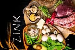 Foods High In Zinc As Octopus, Beef, Buckwheat, Yellow Cheese, Spinach, Avokado,pea, Mushrooms, Bean, Radishes, Eggs. Top View Royalty Free Stock Image