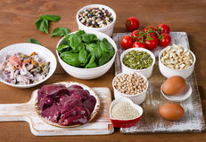 Foods high in Iron. Top view Royalty Free Stock Image