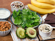 Foods High in Magnesium on a wooden table. Royalty Free Stock Photography