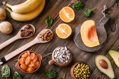 Foods That Are High in Potassium. Healthy Foods That Are High in Potassium: top view stock photo